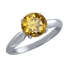1.80 Ct Round Champagne Quartz 925 Sterling Silver Ring
