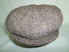 SCOTTISH HARRIS TWEED GREEN 8 PIECE WOOL NEWSBOY BAKER BOY CAP FROM SCOTLAND