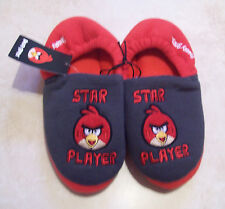 ANGRY BIRDS RED & GREY STAR PLAYER BOYS ENCLOSED SLIPPERS SIZE UK 13 & 2 BNWT