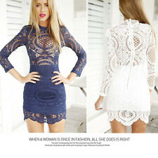 2015Women Sheer Lace Crochet Long Sleeves Evening Party Club Cocktail Mini Dress