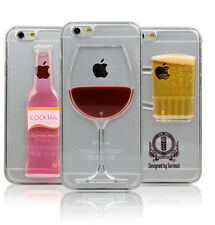 Red Wine Glass Beer Cocktail Moving Liquid 3D New Case Cover For iPhone 5 6 Plus