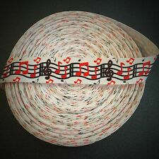 """7/8"""" Red Music Notes Grosgrain Ribbon by the Yard (USA SELLER!)"""