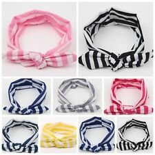 Baby Girl Kids Soft Stretch Stripe Rabbit Bow Turban Hairband Headband Head Wrap