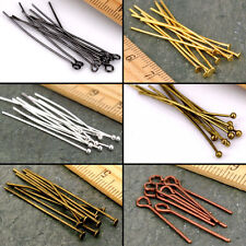 Eye Pin Flat Head Pin Ball Pin Finding 16-60mm Silver Gold Copper Bronze Plated