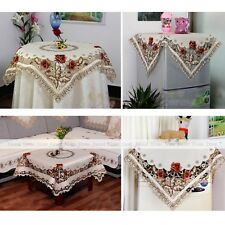 YEVITA Embroidery Peony Cutwork Tea Tablecloth Fabric Square Table Cover 4 Size