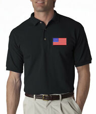 American Flag Chest Logo USA Pride Embroidered Polo Shirt S-3XL 8 Colors