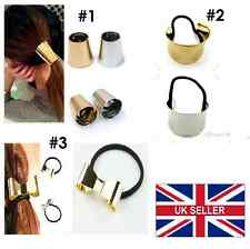 HAIR CUFF METAL PONY TAIL RING WRAP CURVED GOTHIC PUNK  BLACK HOLDER ELASTIC #03