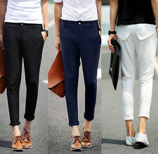 Slim Fit Mens Striped Low Rise Summer Casual Ankle Length Pants Cropped Trousers