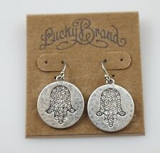 LUCKY BRAND White Crystal Antique Silver Tone Bohemian Drop Earrings, NWT