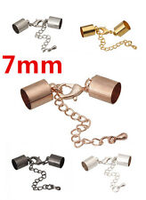 50 Bead Ends Cap Cord with Lobster Clasp and Extension Chain inner Hole 7mm EC36