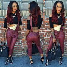 2015 Women Long Wine Red imitation Leather Jumpsuit Fashionable Overalls outfit