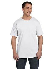 Hanes Men's Beefy Tshirt with POCKET 100% Cotton Tee S - 3XL T-Shirt 5190 5190P