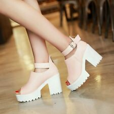 Womens Punk Block Chuky Heel Peep Toe Ankle Strap Platform Roma Sandals Plus Sz