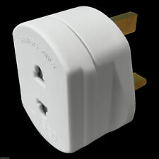 Shaver Toothbrush Plug 2 Pin to 3 Pin Electric Adaptor - Bathroom White Adaptor