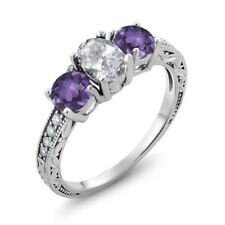 1.97 Ct Oval White Topaz Purple Amethyst 925 Sterling Silver Ring