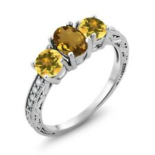 1.72 Ct Oval Whiskey Quartz Yellow Citrine 925 Sterling Silver Ring