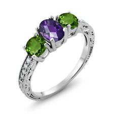 1.87 Ct Oval Checkerboard Purple Amethyst Green Chrome Diopside 925 Silver Ring
