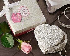 48 White Rose Heart Jewelry Trinket Box Bridal Shower Sweet 16 Quince Favor Gift
