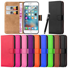 PU LEATHER WALLET CASE COVER & SCREEN GUARD FOR VARIOUS IPHONE MOBILE PHONES
