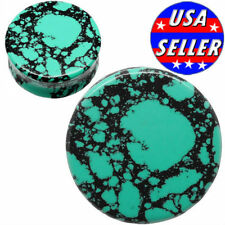 PAIR-AQUA GREEN/TEAL HOWLITE -Organic Flesh Tunnels- Stone Ear Plugs-Ear Gauges