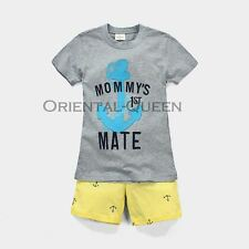 Baby Toddler Children Boys Clothes New Grey T-shirt+Shorts Sets Outfits