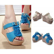 Womens Sexy Polka Dot Bowknot High Heels Platforms Wedges Sandals Mules Shoes