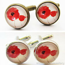 Remembrance Red Poppy Glass Cufflinks Antique Gold or Silver Plate 14mm Gift Box