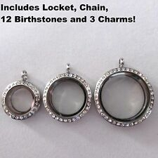 Origami Owl Birthstones, Silver Living Floating Memory Locket Necklace, 3 Charms