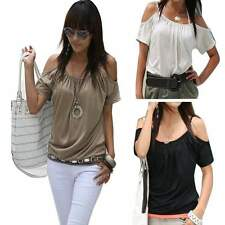 Sexy Women's Summer Fashion Style O-Neck Shoulder T Shirt Blouse Tops Tee