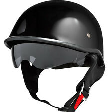 Gloss Black Half Helmet DOT EVOS w/ Smoke Visor Motorcycle Cruiser - S/M/L/XL