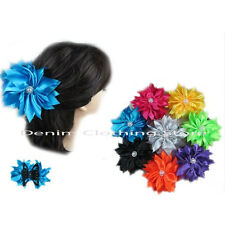 6~12  Flower Satin Jaw Hair Clip Claw Double Sided Style Petals  Lot Wholesale