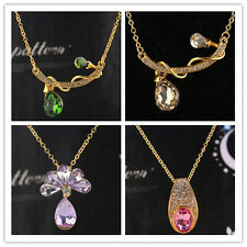 Women 18k Gold Plated Austrian Crystal Pendant Necklace Jewelry In 4Styles