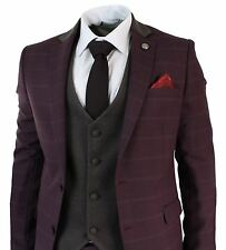 Mens 3 Piece Wine Maroon Plum Retro Check Herringbone Tweed Suit Tailored Fit