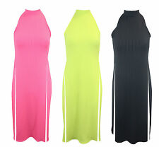 New Ladies Sleeveless Ribbed High Split Side Slit Stylish T Shirt Top Maxi Dress