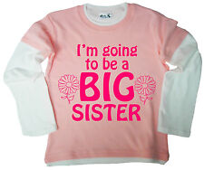 "Dirty Fingers Girl's Skater Top ""I'm going to be a Big Sister"" Long Sleeve Tee"