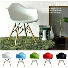 Set of 2 Eiffel Molded Arm Chair Wood Leg Eames Style Arm Chairs