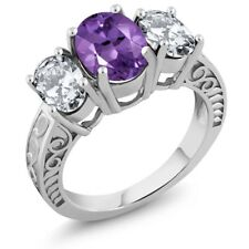 4.66 Ct Oval Purple Amethyst 925 Sterling Silver Ring