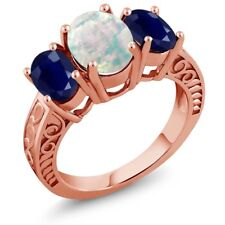 2.64 Ct Oval White Simulated Opal Blue Sapphire 18K Rose Gold Plated Silver Ring
