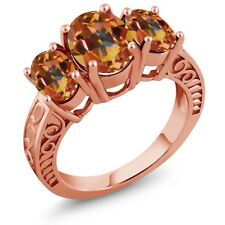 3.40 Ct Oval Ecstasy Mystic Topaz 18K Rose Gold Plated Silver Ring