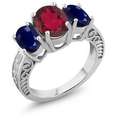 3.84 Ct Oval Red Mystic Quartz Blue Sapphire 925 Sterling Silver Ring