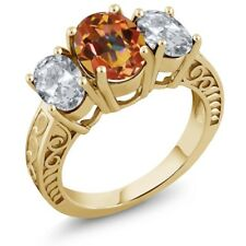 3.70 Ct Oval Ecstasy Mystic Topaz White Topaz 18K Yellow Gold Plated Silver Ring
