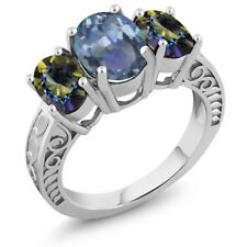 3.40 Ct Oval Cassiopeia Mystic Topaz Blue Mystic Topaz 925 Sterling Silver Ring