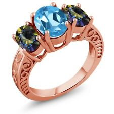 3.40 Ct Oval Swiss Blue Topaz Blue Mystic Topaz 18K Rose Gold Plated Silver Ring