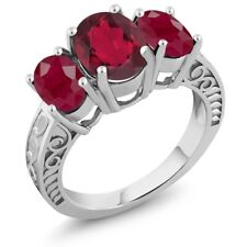 3.84 Ct Oval Red Mystic Quartz Red Ruby 925 Sterling Silver Ring