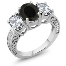 5.00 Ct Oval Black Onyx 925 Sterling Silver Ring