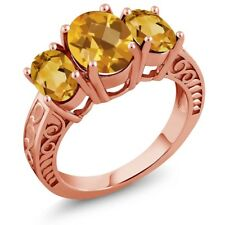 2.50 Ct Oval Checkerboard Yellow Citrine 18K Rose Gold Plated Silver Ring