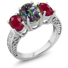 3.84 Ct Oval Green Mystic Topaz Red Ruby 925 Sterling Silver Ring
