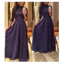 Fashion Women Plaids & Checks Print High Waist Long Sleeve Slim Long Maxi Dress