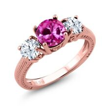 2.66 Ct Round Pink Created Sapphire White Topaz 18K Rose Gold Plated Silver Ring