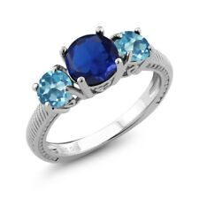 2.67 Ct Round Blue Simulated Sapphire Swiss Blue Topaz 925 Sterling Silver Ring